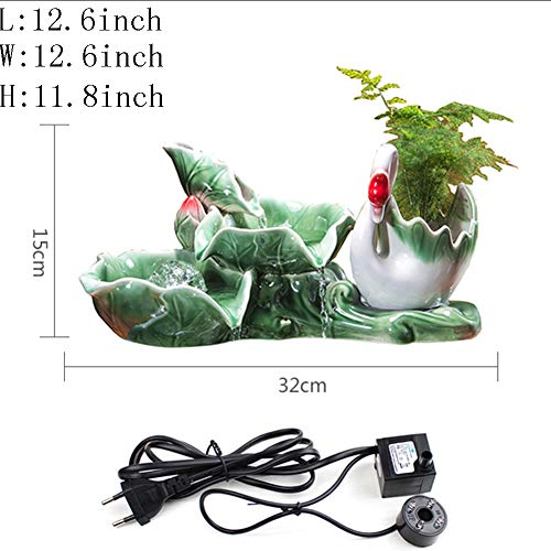 Statues Decoration Crafts,Tabletop Fountain Little swan Water Decoration Living Room Goldfish Bowl Decoration Creative Gifts-A 12.6inch
