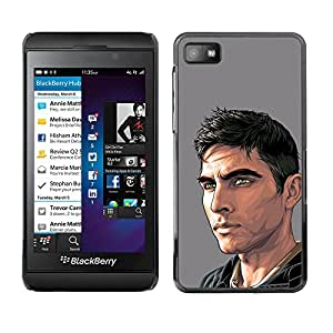 Shell-Star Arte & diseño plástico duro Fundas Cover Cubre Hard Case Cover para Blackberry Z10 ( Dude Man Painting Art Handsome )