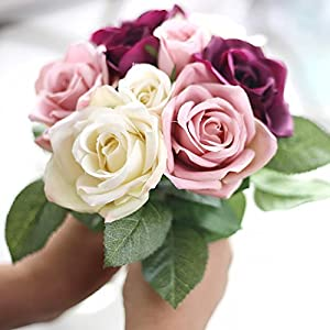 XGM GOU Rose Flowers 6Pcs Head+3Pcs Bud Artificial Flower for Wedding Valentine's Day Party Bride Bouquet Silk Decorative Flower Rose 8