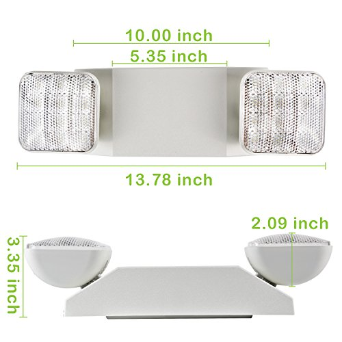 Hykolity Two Head LED Adjustable Wall-Mount White Emergency Light Fixture with Battery Back-up - 4 Pack by hykolity (Image #3)