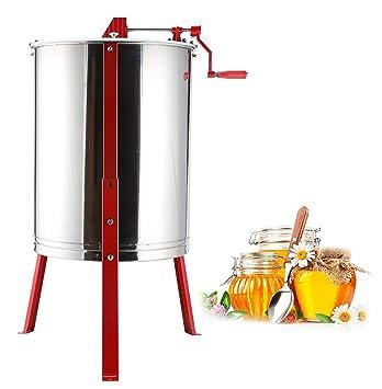 TUDIO Acero Inoxidable 4 Marco Extractor de Miel Manual, Gran Capacidad Extractor de Miel de Abejas con Cubierta Transparente, Equipo de Apicultura: ...