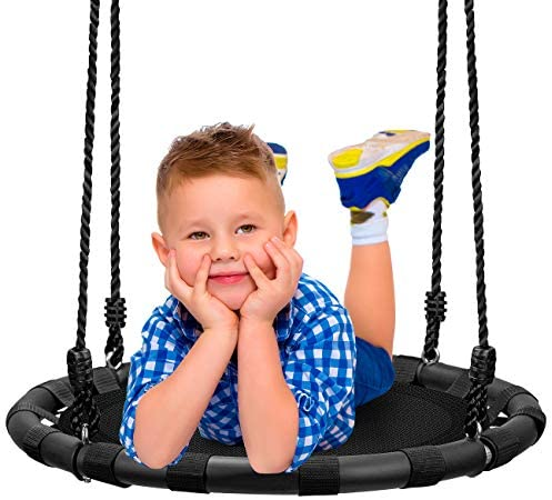 Sorbus Spinner Swing – Kids Round Mat Swing – Great for Tree, Swing Set, Backyard, Playground, Playroom – Accessories Included [New Improved 2020 Design!] (24″ Mat Seat)