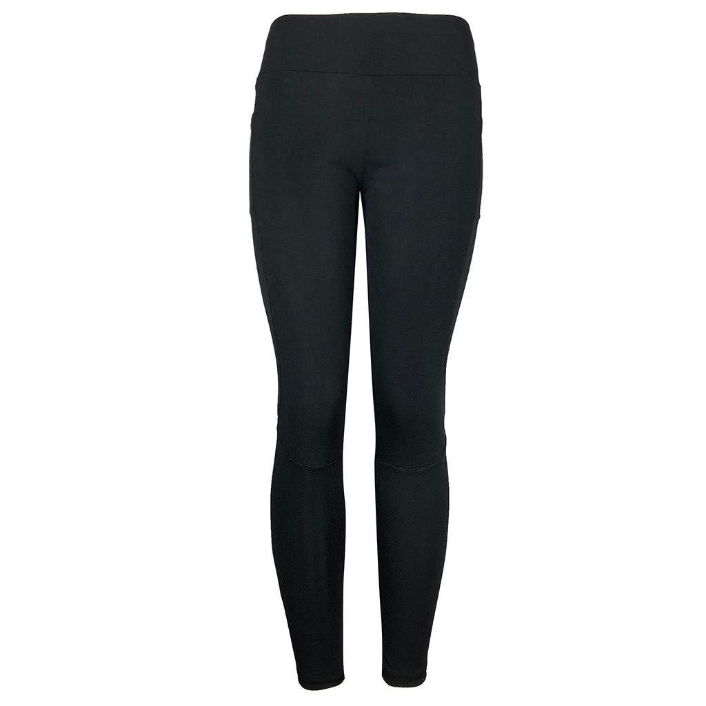 CapsA Yoga Leggings for Women Solid Sweatpants Workout Leggings Fitness Sports Running Yoga Athletic Pants Black
