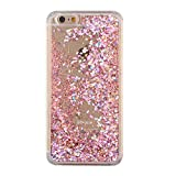iPhone 6 Plus Case, iPhone 6S Plus Liquid Case,Areal Luxury Bling Glitter Clear Liquid Quicksand Hourglass Water Phone Protective Shell for iPhone 6 Plus /6S Plus Case,Rose Gold