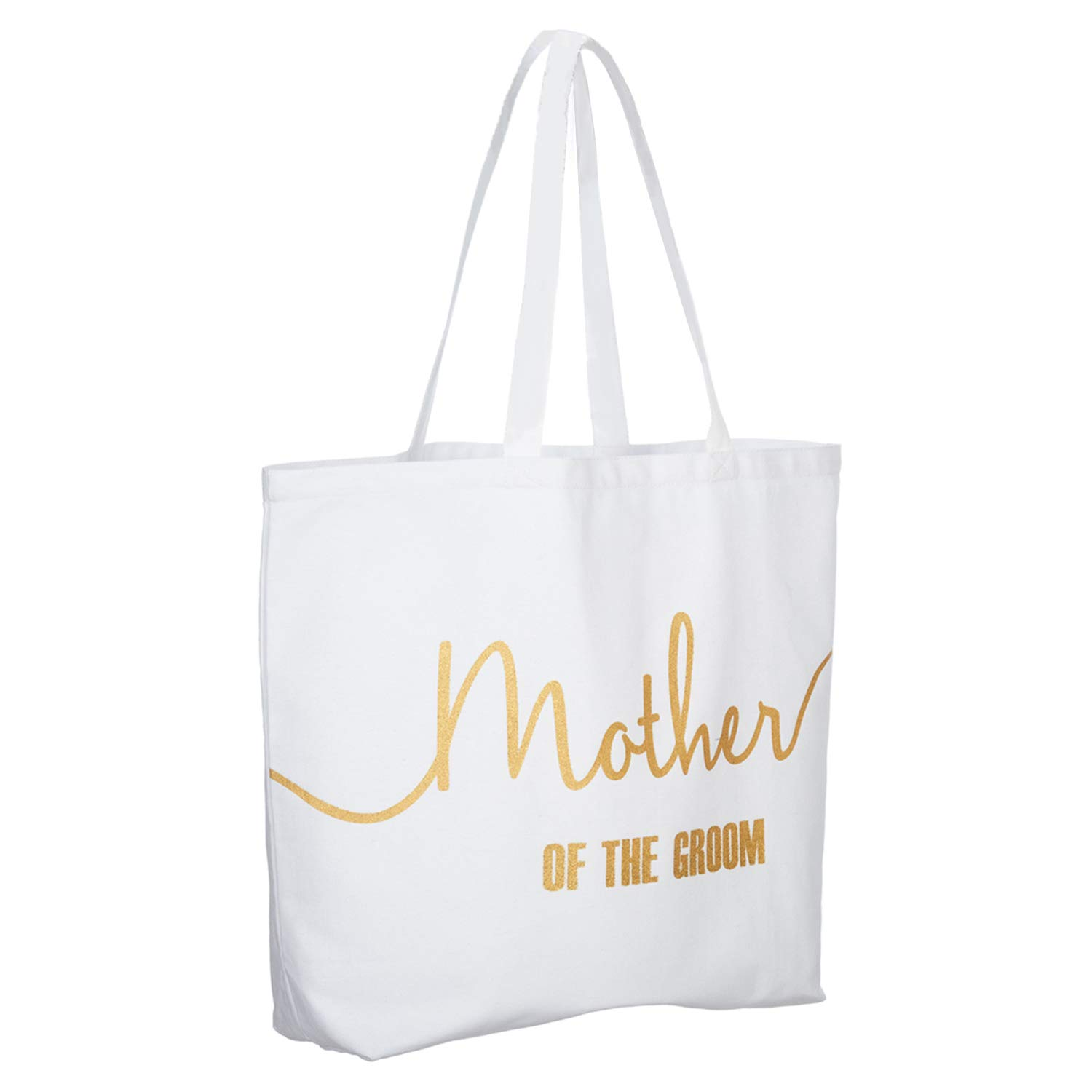 Amazon.com  ElegantPark Mother of the Bride Jumbo Tote Bag for Wedding  Gifts Canvas 100% Cotton Interior Pocket White with Gold Glitter  Kitchen    Dining ffde8fda42bfe