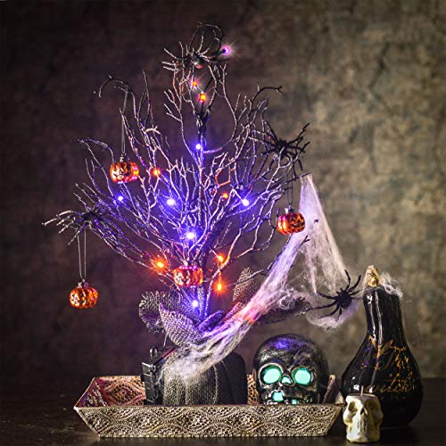 Spooky Trees For Halloween (Valery Madelyn 20 inch Pre-Lit Black Spooky Tree with Halloween Pumpkins Black Spider Ornaments for Halloween Decorations, Battery Operated 17 LED Lights (Black and)