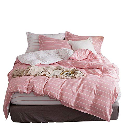 Pink Twin Duvet - WINLIFE Striped Duvet Cover Set Girls Bedding Reversible Duvet Cover (Pink, Twin)