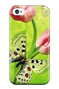 Defender Case For Iphone 4/4s, Tulips & Butterfly Pattern