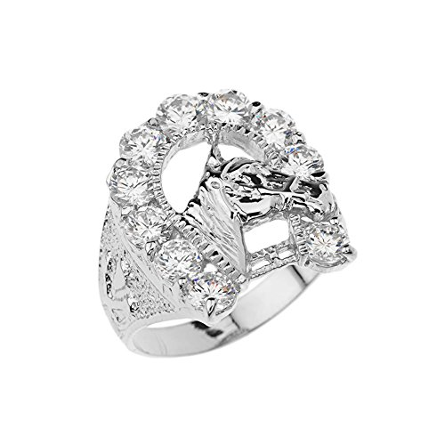 Men's Elegant CZ Lucky Horseshoe and Horse Head Ring in Sterling Silver (Size (Horseshoe Horse Head)