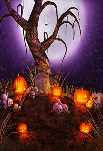 LFEEY 3x5ft Spooky Halloween Party Background Horror Scene Old Bare Tree Ghost Jack O Lantern Skull Backdrop Kids Adults Hallowmas Photoshoot Back Drop Photo Booth Props