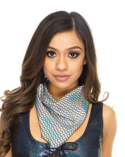 Women's Holographic Silver Black Face Bandana Rave One Size