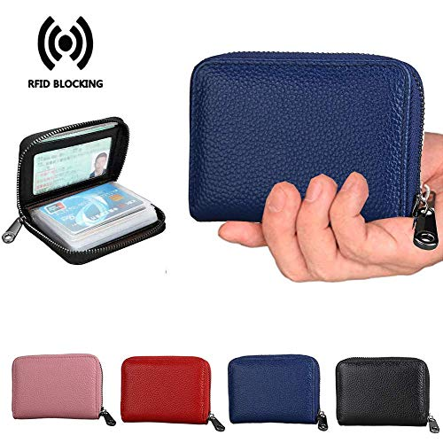 Gift card save Credit Card Holder Wallet RFID Leather Small ID Card Case Unisex(Blue)...