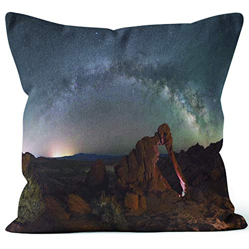 Nine City Elephant Rock Milky Way Panorama Home Decorative Throw Pillow Cover,HD Printing Square Pillow case - Way Panorama Milky