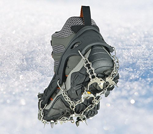 Uelfbaby 19 Teeth Micro spikes Footwear Ice Traction System Safe Protect for Walking, Jogging, or Hiking on Snow and Ice(19 Spikes/ Black)
