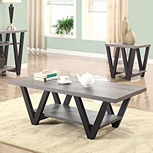 Coaster Furniture Wood Coffee Table with Shelf – Antique Gray