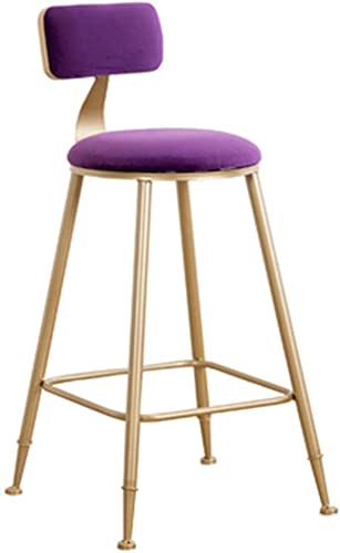 LJFYXZ Metal Counter Stool Velvet seat and backrest Modern bar Chair Bar Counter High Stool Kitchen Dining Chair 45/65 / 75cm Color : Purple