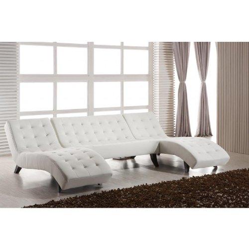 U-Leder-Look-Recamiere Sofa weiß 515-U-LL-W