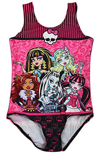 Timemory Girls Print One Piece Swimwear Swim Suits (Monster High #3 M) (Girl Monsters)