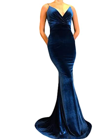 2018 Royal Blue Velvet Prom Dresses Mermaid Long Evening Gowns For Women