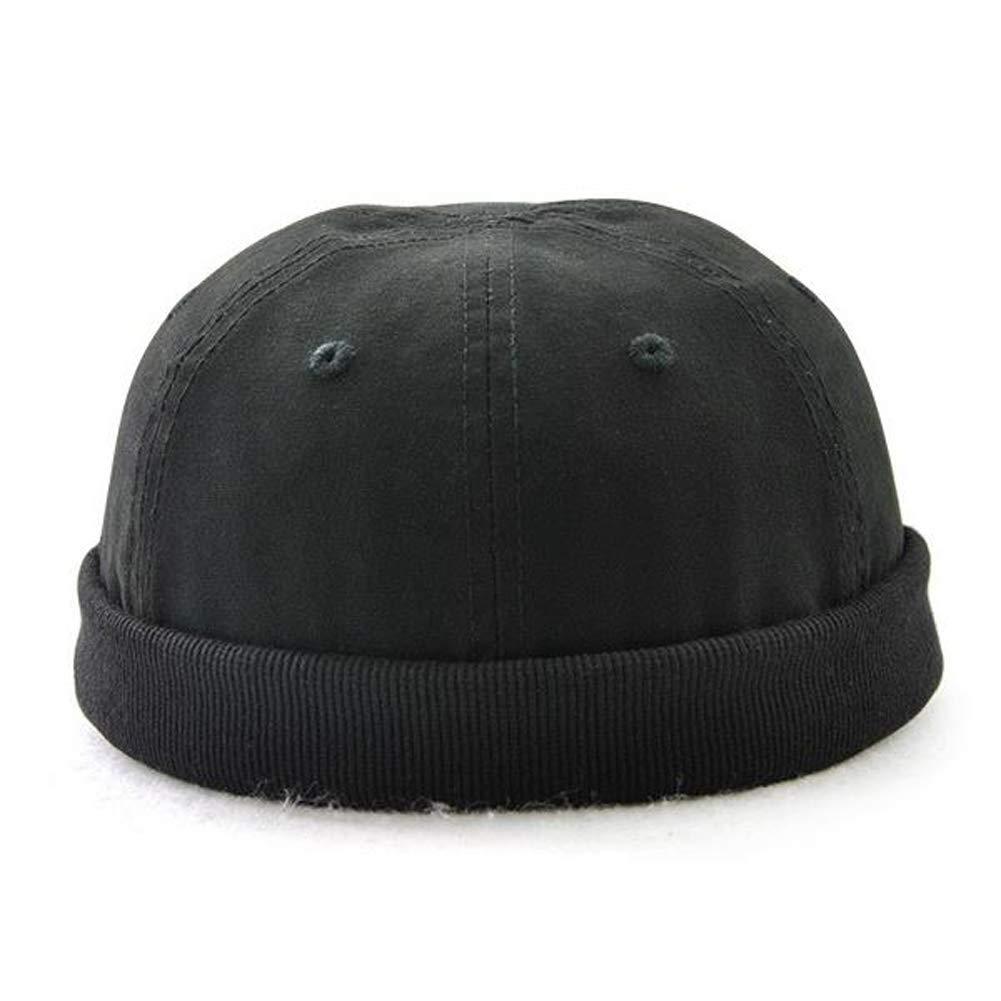 Soothfeel Mens Solid Adjustable Warm Skullcap Sailor Cap Rolled Cuff Retro Brimless Hat