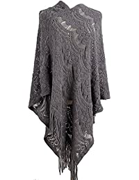 Women's Sweater Cape Pullover Lace Shawl Tassles Knit Poncho-like Wrap