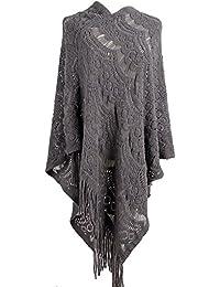 QZUnique Women's Sweater Cape Pullover Lace Shawl Tassles Knit Poncho-Like Wrap