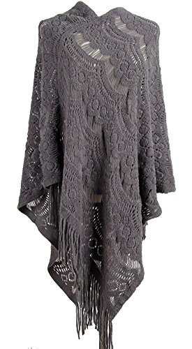 QZUnique Women's Sweater Cape Pullover Lace Shawl Tassels Knit Poncho-Like Wrap Grey - Hooded Knit Poncho