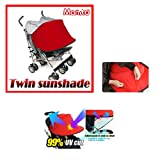 [Manito] New Twin Sunshade / Sonnenschutz für Twin Kinderwagen, Sonnendach, Sonnenverdeck, Sportkinderwagen und Autositz, Weitsonnenschutz, UV-Cut, Universal und einfache Installation (Red)