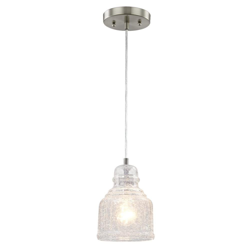 6309200 One-Light Indoor Mini Pendant, Brushed Nickel Finish with Clear Crackle Glass