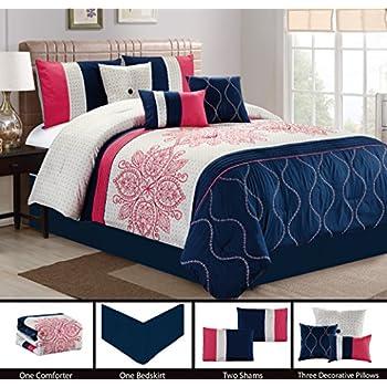 7 pc prisca floral leaves scroll vine damask embroidery comforter set blush pink. Black Bedroom Furniture Sets. Home Design Ideas