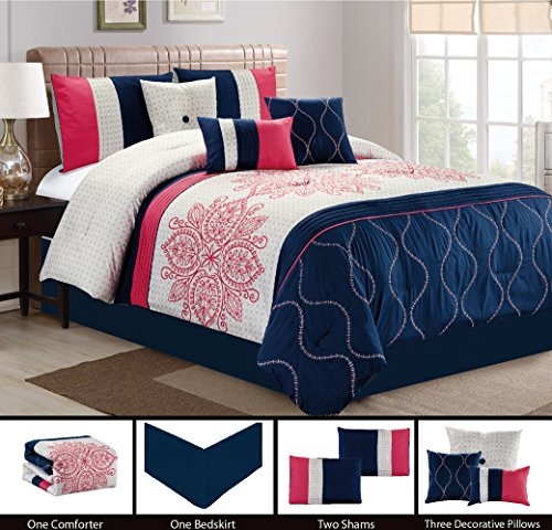 Modern 7 Piece Bedding MELON PINK, NAVY BLUE, GREY Floral Embroidered Embossed QUEEN Comforter Set with accent pillows Melon Bedding Set