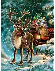 GIEAAO Diamond Painting Volledige Boor Kerst Hert, 5D DIY Schilderij Kits Cadeau Auto, Strass Borduurwerk Borduurpakketten Supply Arts Craft Canvas Wall Decor Stickers Home Decor 30x40 cm