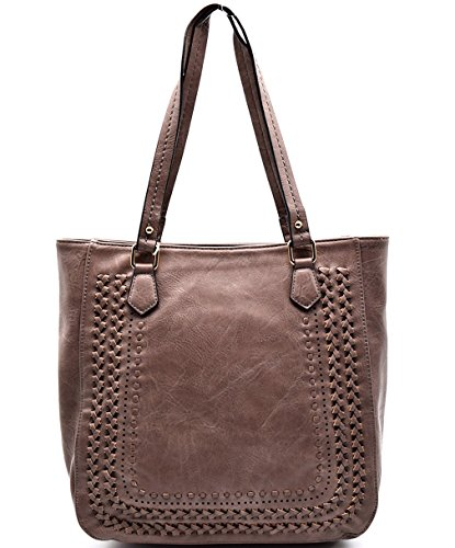 (Madison West Braided Accent, Large Zip-Top Shoulder Tote- Mauve)