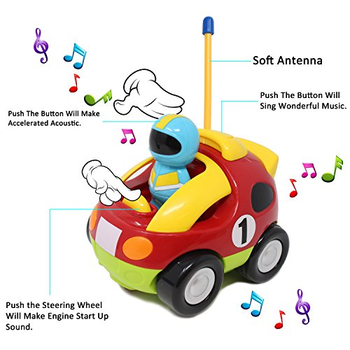 51rrxJWr%2B9L - JOYIN Cartoon RC Race Car Radio Remote Control with Music and Sound for Baby and Toddler Toys, School Classroom Prize, Children Holiday Toy for 2 Year Old