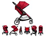 Best LIGHTWEIGHT (17.8 lbs) Baby Stroller - Travel System Compatible - Canopy Umbrella - Easy Fold Carry And Store (Esp On Airplane) - For Infants - Toddlers And Kids - RED Color