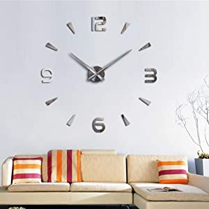 FASHION in THE CITY 3D DIY Wall Clock Creative Design Mirror Surface Wall Decorative Sticker Watches (Silver)