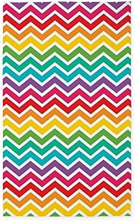 CafePress Cheerful Rainbow Chevron Decorative Area Rug, Fabric Throw Rug
