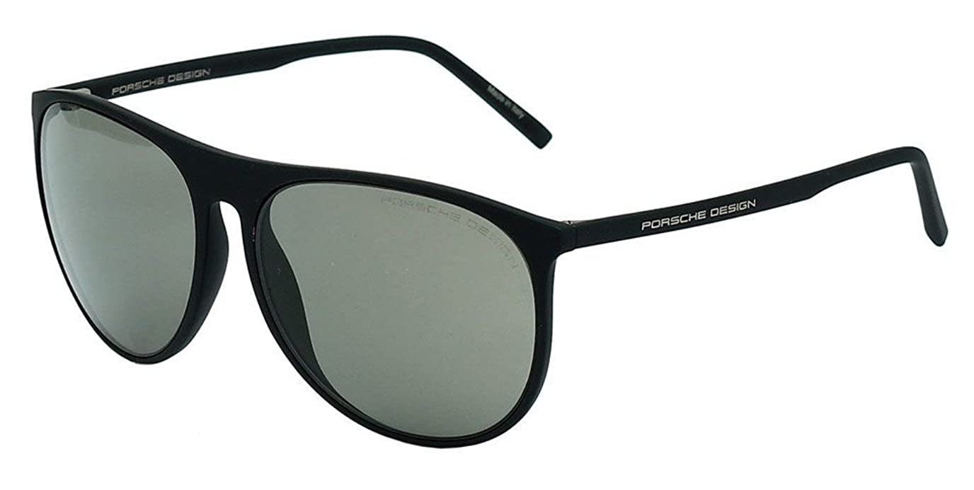 d5c7bd4c8f35 Sunglasses Men Aviator Porsche Design P8596 B Black Grey Green Round 58mm  Acetate  Amazon.co.uk  Clothing