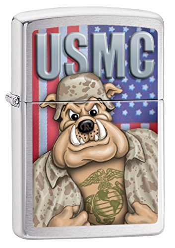 Zippo USMC Bulldog Brushed Chrome Pocket Lighter