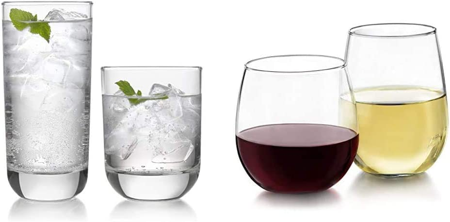 Libbey Polaris 16-Piece Tumbler and Rocks Glass Set, Clear & Stemless 12-Piece Wine Glass Party Set for Red and White Wines