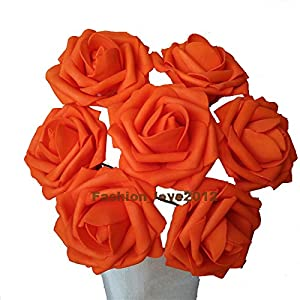 50 pcs Artificial Flowers Foam Roses for Bridal Bouquet Bouquets Wedding Centerpieces Kissing Balls (Orange) 18