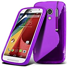 ONX3 Motorola Moto G 2nd Generation Purple S Line Wave Gel Case Skin Cover With LCD Screen Protector Guard, Polishing Cloth & Mini Retractable Stylus Pen
