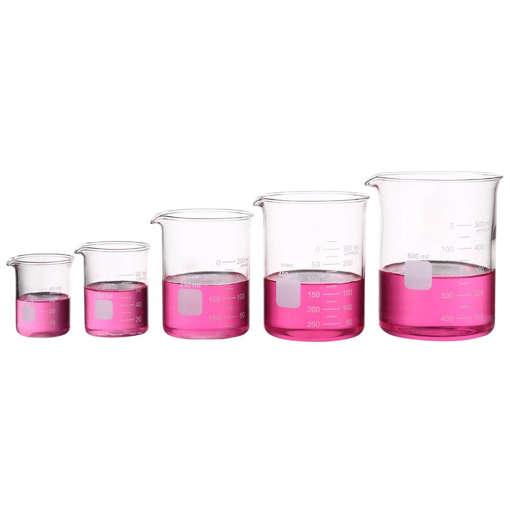 Graduated Measuring Glass Beaker Set Low Form Beakers 50ml 100ml 250ml 400ml 600ml Ronyes Glass Beaker-5-UK