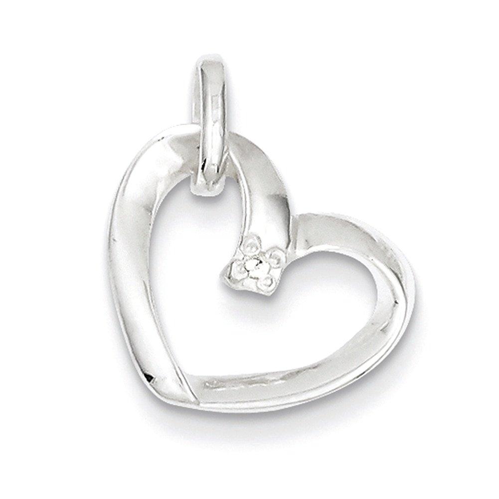 Lex /& Lu Sterling Silver Heart w//CZ Pendant