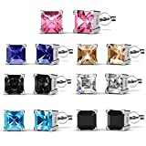 R-timer Womens Fashion Jewelry Stud Earrings Set 18K Whit-Gold Plated with Crystals from Swarovski (Square-claw)