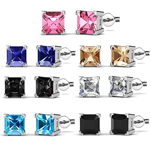 (R-timer Womens Fashion Jewelry Stud Earrings Set 18K Whit-Gold Plated with Crystals from Swarovski (Square-claw))