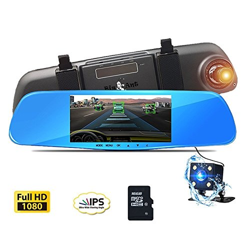 """Dash Cam Mirror Camera, 5"""" Night Vision Car Camera, FHD 1080P 170°Wide Angle Dual Lens DVR Video Recorder with Rearview Backup Camera, G-Sensor, Parking Mode and Loop Recording, With 16GB SD Card"""