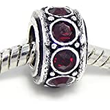 "Jewelry Monster Antique Finish ""Garnet Red"" January Birthstone Spacer Charm Bead for Snake Chain Charm Bracelet"