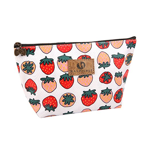 Strawberry Makeup - Toiletry Bag, Frcolor Multifunction Makeup Bag Purse Organizer Cartoon Cosmetic Pouch Waterproof Travel Cosmetic Case for Women Girls Teenagers (Strawberry)