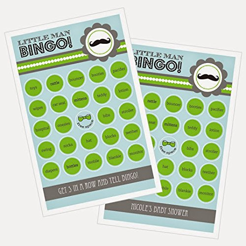 3 sets of 16 Little Man Party Bingo by Eventblossom